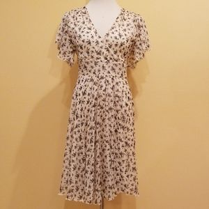 Dresses & Skirts - Beige & Black Floral Chiffon Summer Dress in Small